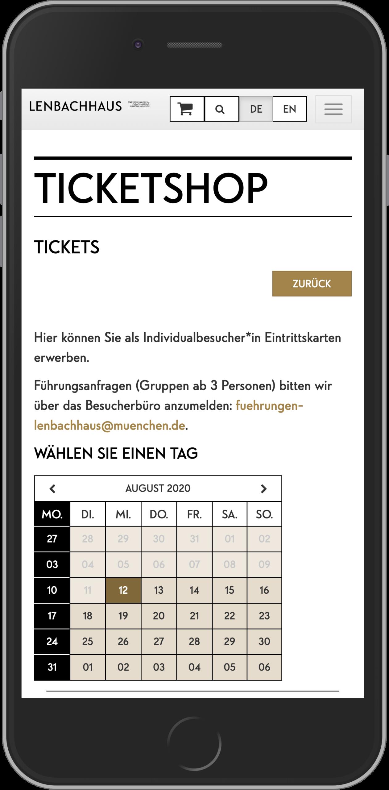 Mobile Ansicht der Startseite des Online Shops des Lenbachhaus