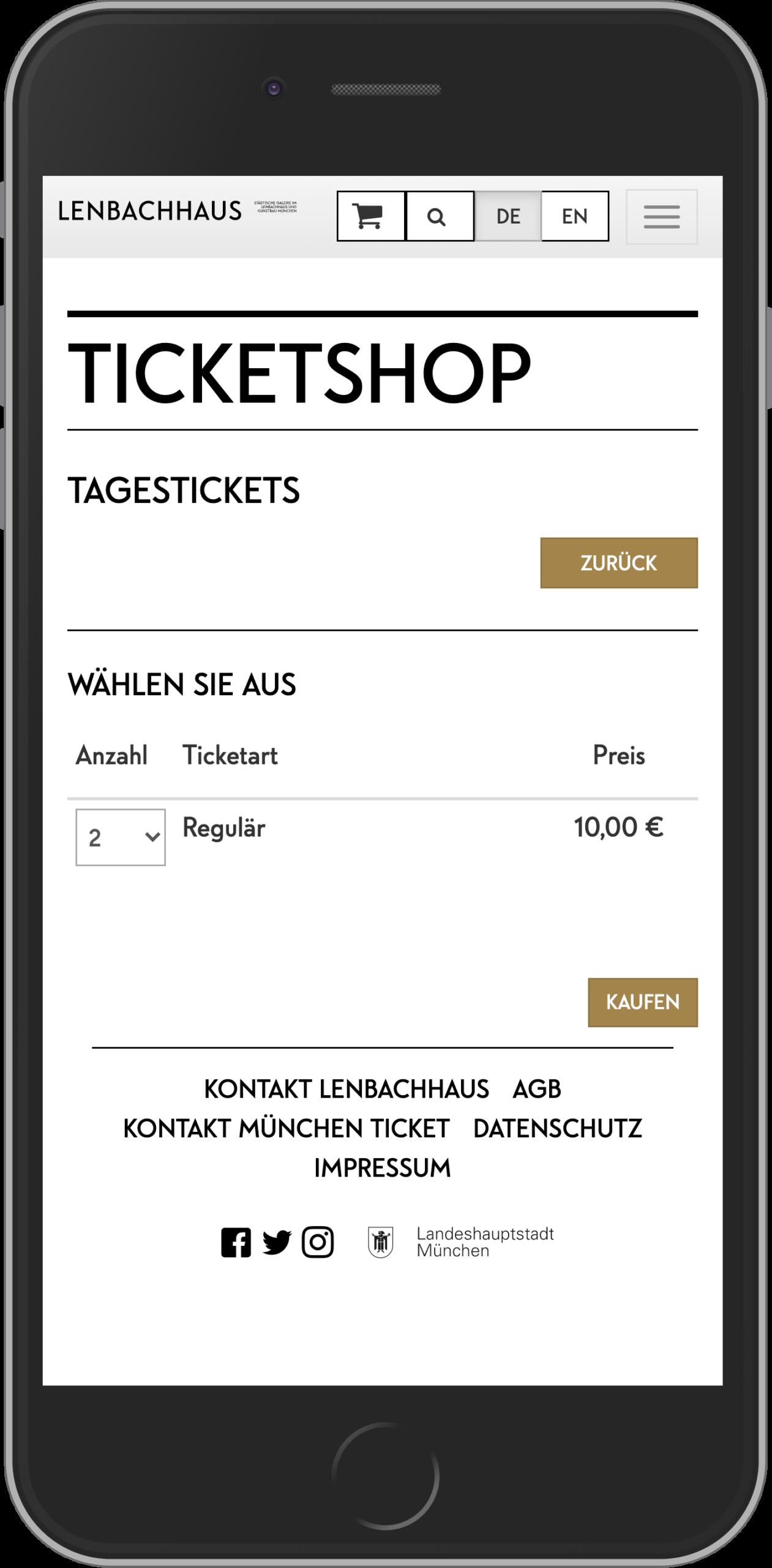 Mobile Ansicht der Ticketauswahl im Online Shop des Lenbachhaus