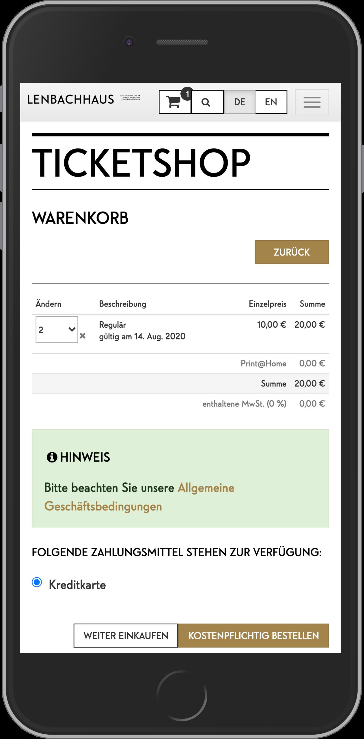 Mobile Ansicht des Warenkorbs im Online Shop des Lenbachhaus