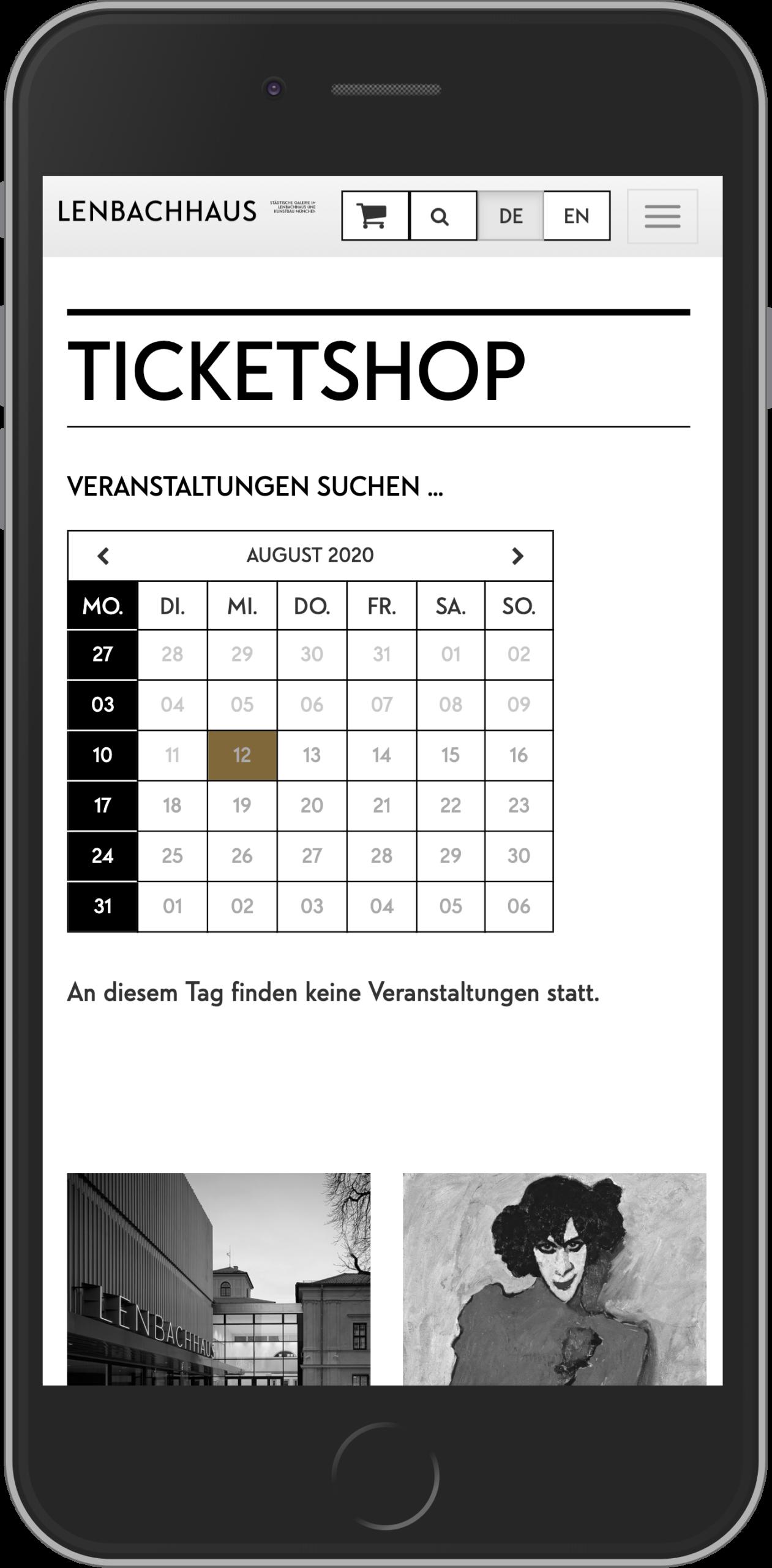 Mobile Ansicht der Veranstaltungssuche im Online Shop des Lenbachhaus
