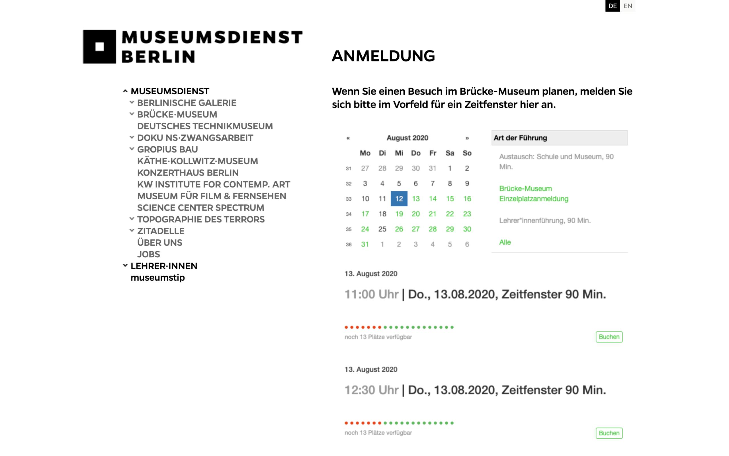 Desktopansicht des Widget für Anmeldungen im Brücke Museum
