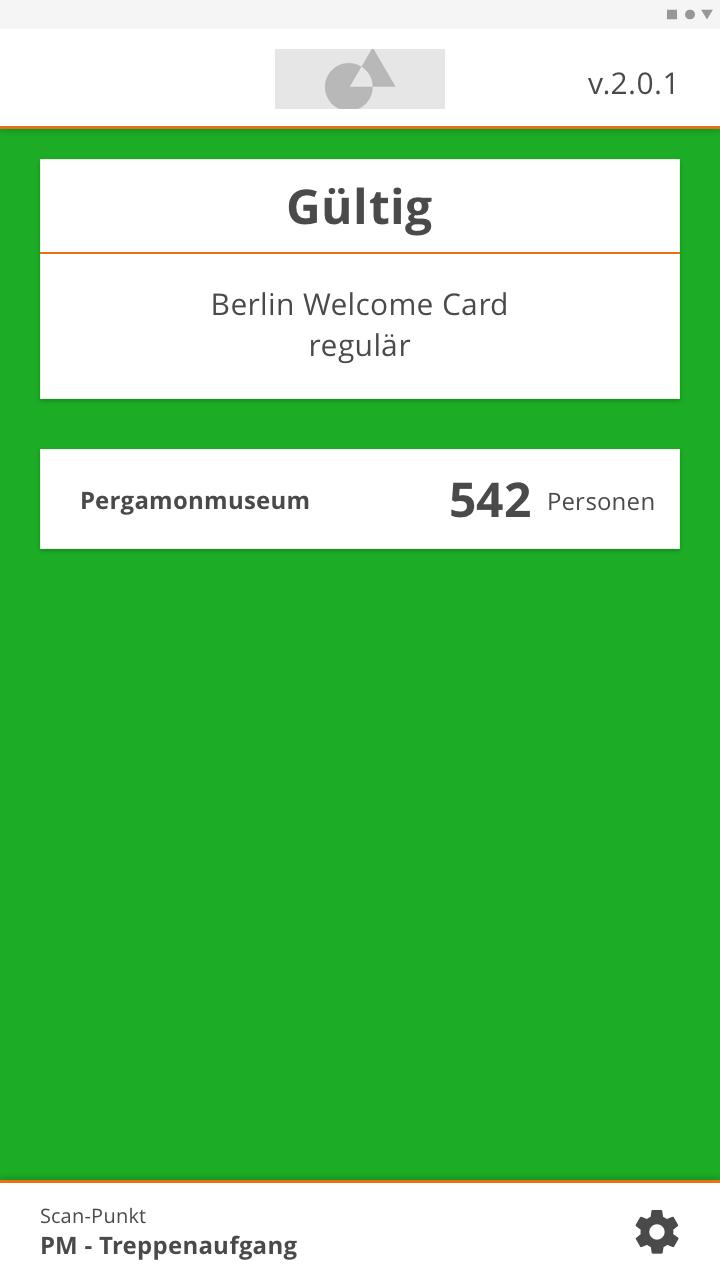 Anzeige der Scan-App bei den Staatlichen Museen zu Berlin beim Scan eines gültigen Tickets