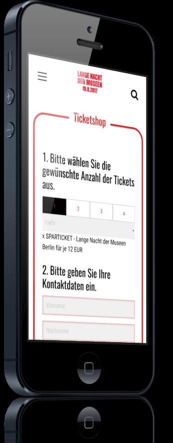 Mobile Ansicht des Online Shops für die Lange Nacht der Museen Berlin