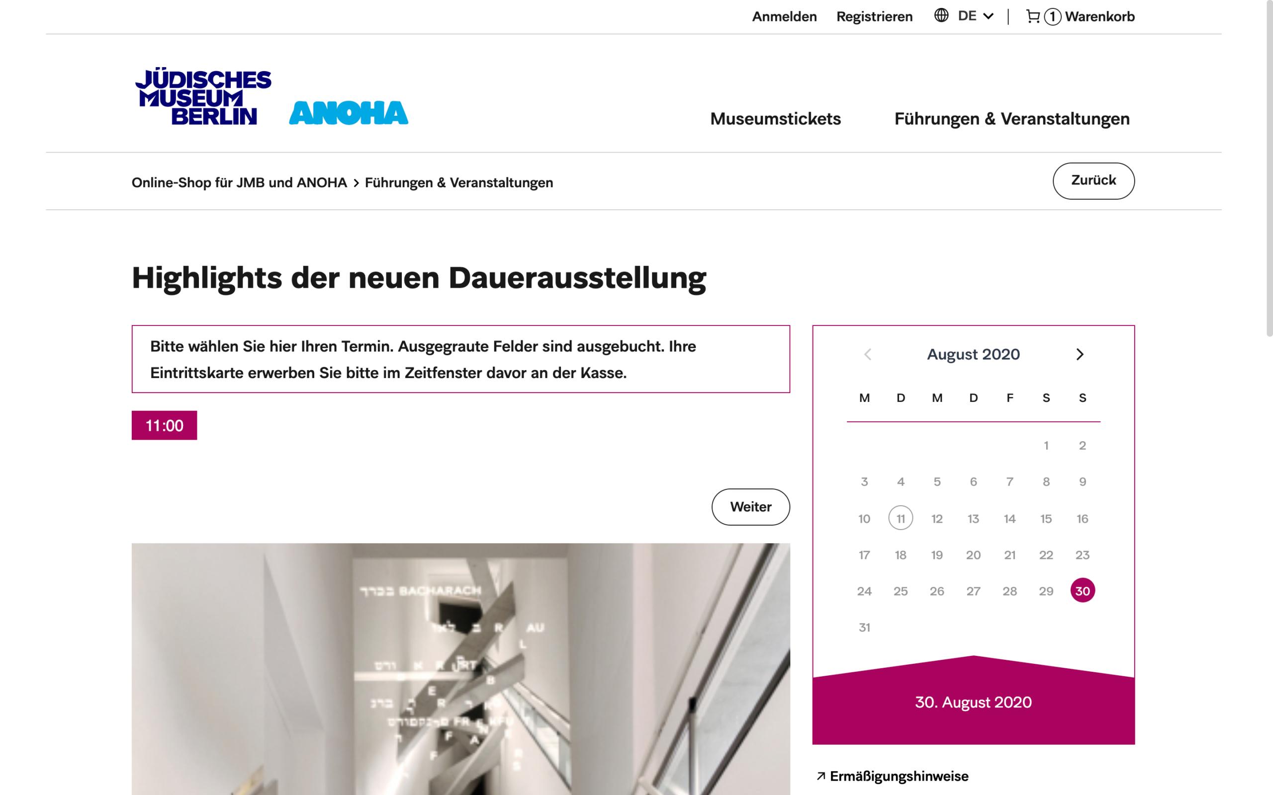Eventbuchung im Online Shop des Jüdischen Museum Berlin