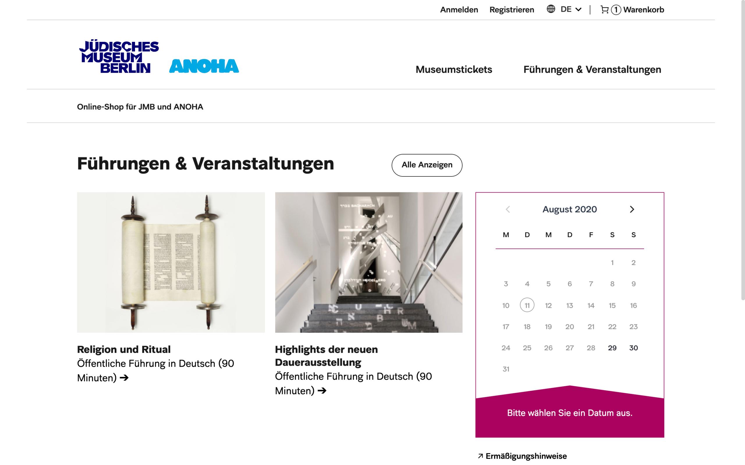 Startseite des Online Shops des Jüdischen Museum Berlin