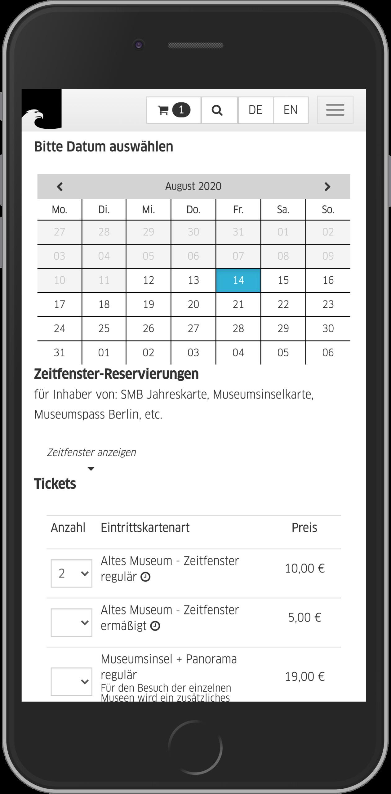 Mobile Ansicht der Datums- und Ticketauswahl im Online Shop der Staatlichen Museen zu Berlin