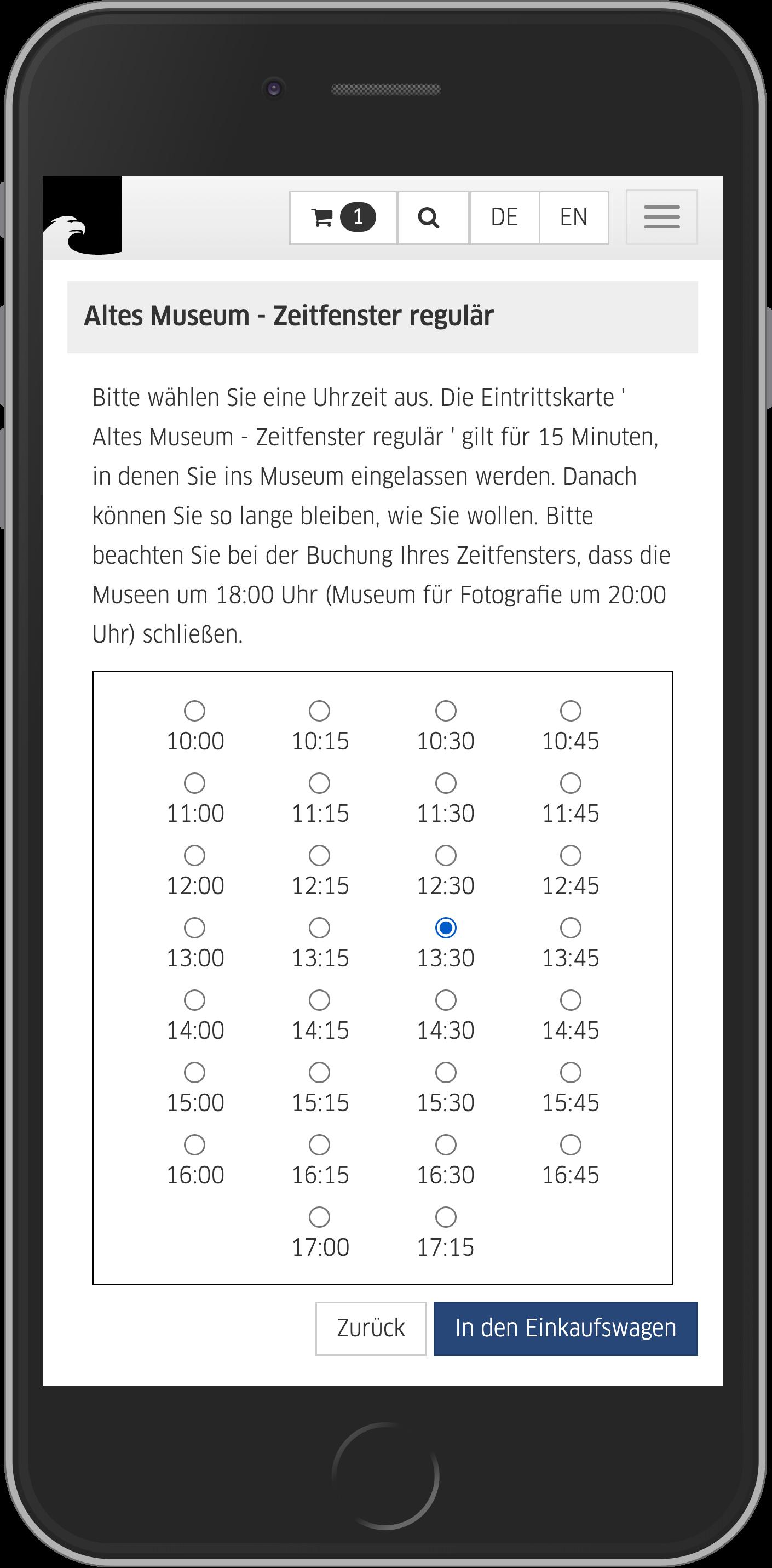 Mobile Ansicht der Zeitfensterauswahl im Online Shop der Staatlichen Museen zu Berlin