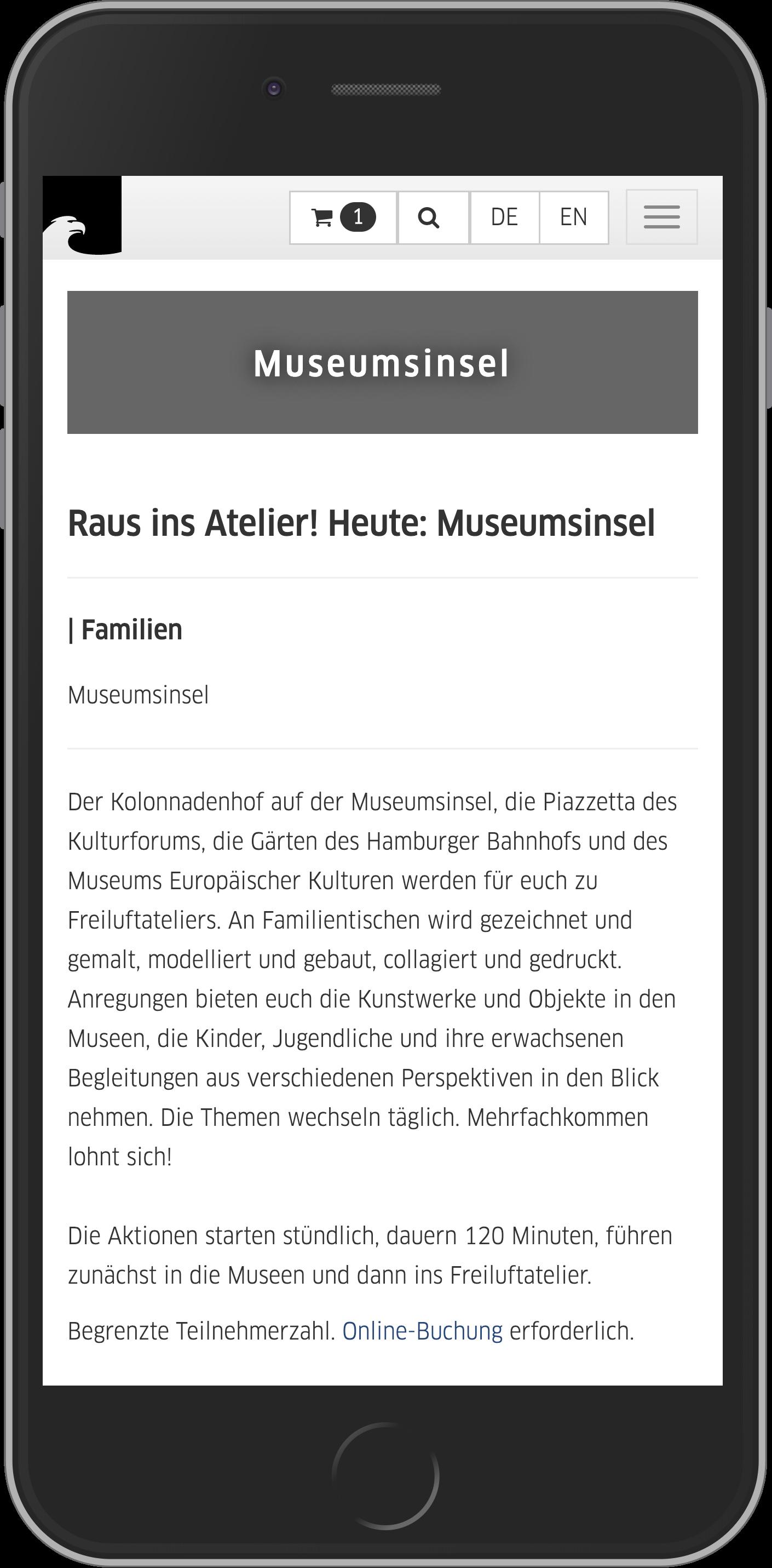 Mobile Ansicht der Eventbuchung im Online Shop der Staatlichen Museen zu Berlin