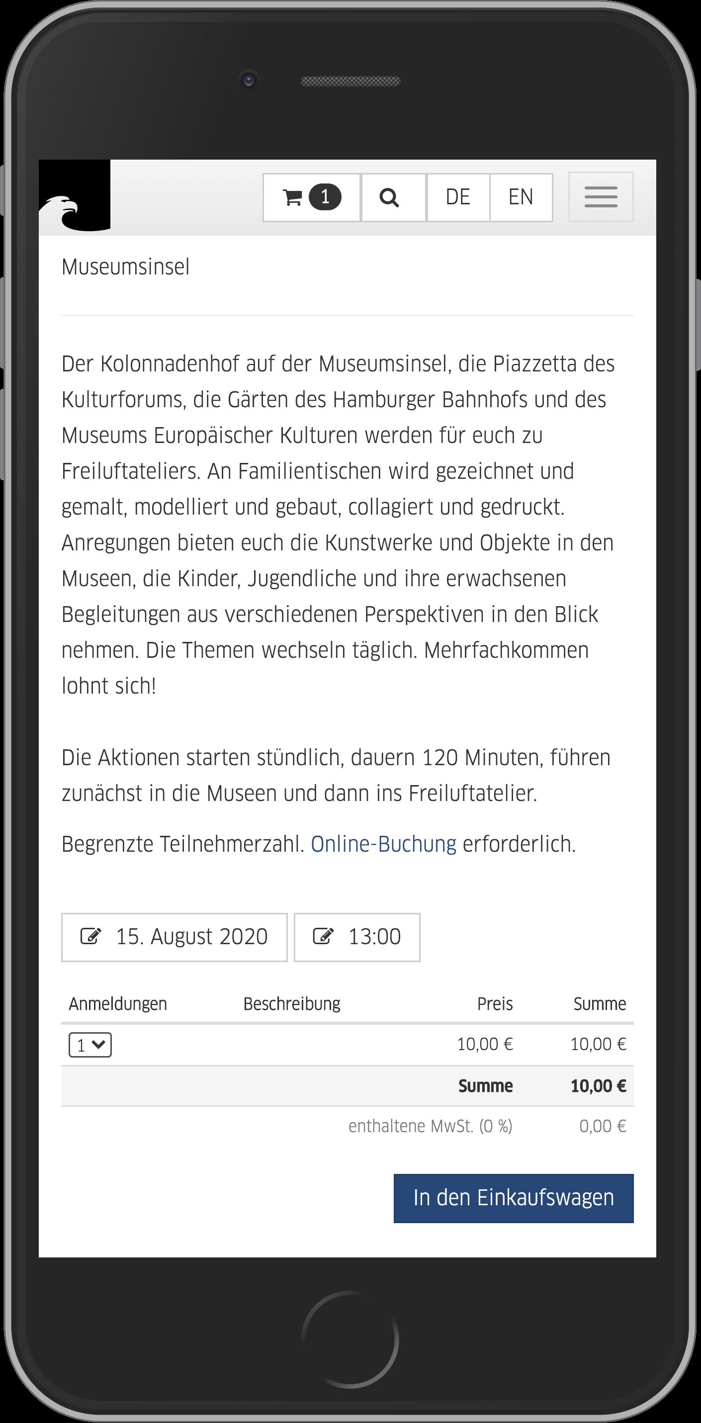 Mobile Ansicht der Teilnehmereingabe bei der Eventbuchung im Online Shop der Staatlichen Museen zu Berlin
