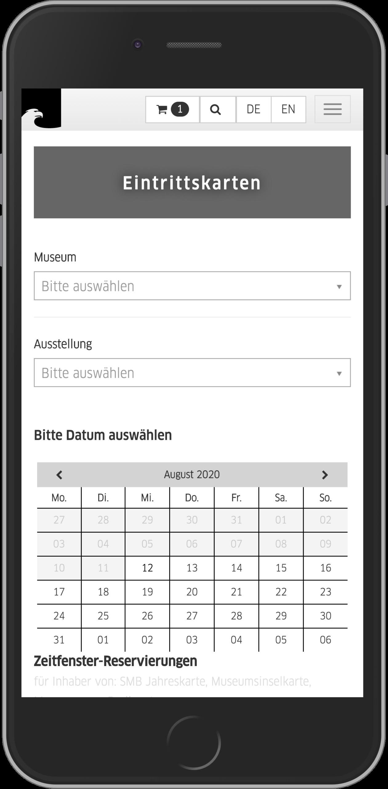 Mobile Ansicht des Museums- und Ausstellungsfilters im Online Shop der Staatlichen Museen zu Berlin