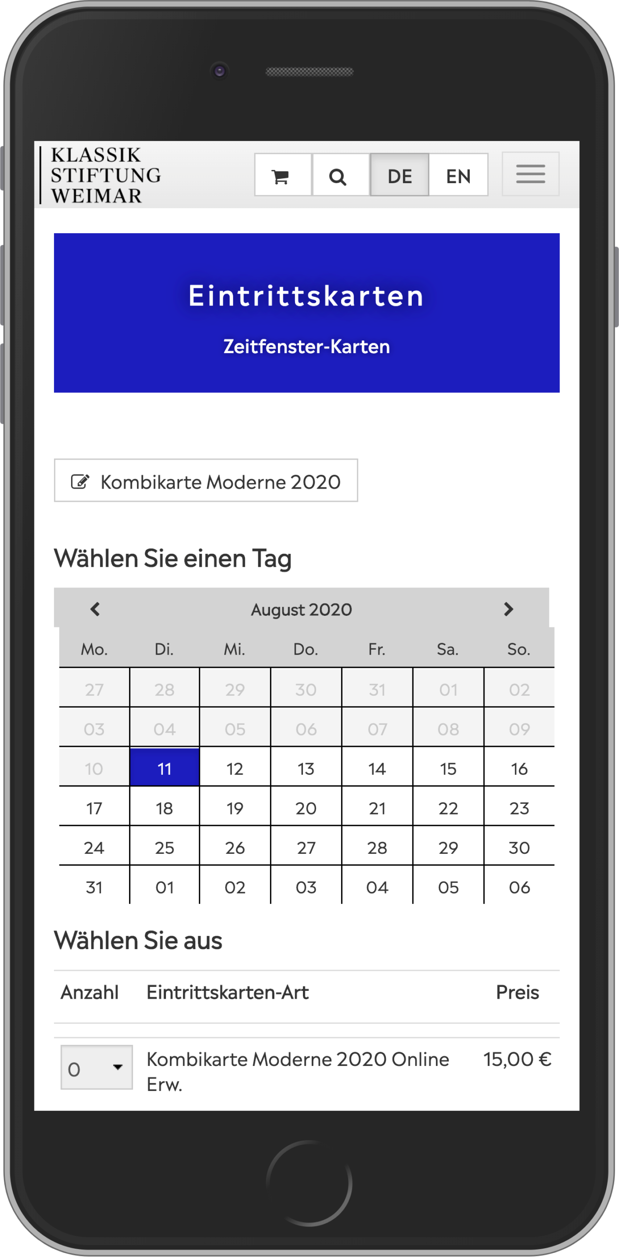 Mobile view of the ticket purchase in the online shop of the Klassik Stiftung Weimar