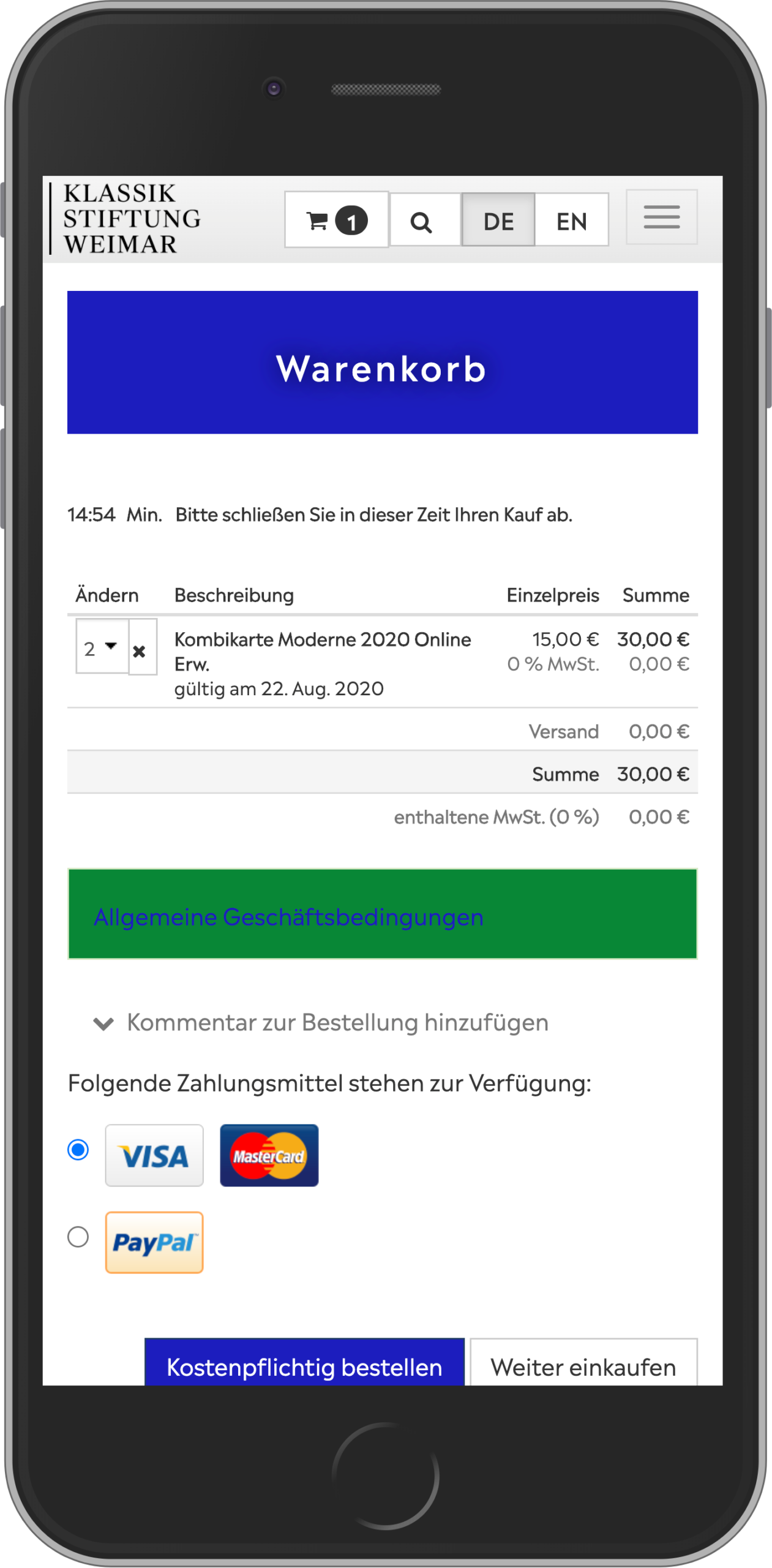 Mobile view of the shopping cart of the online shop of the Klassik Stiftung Weimar
