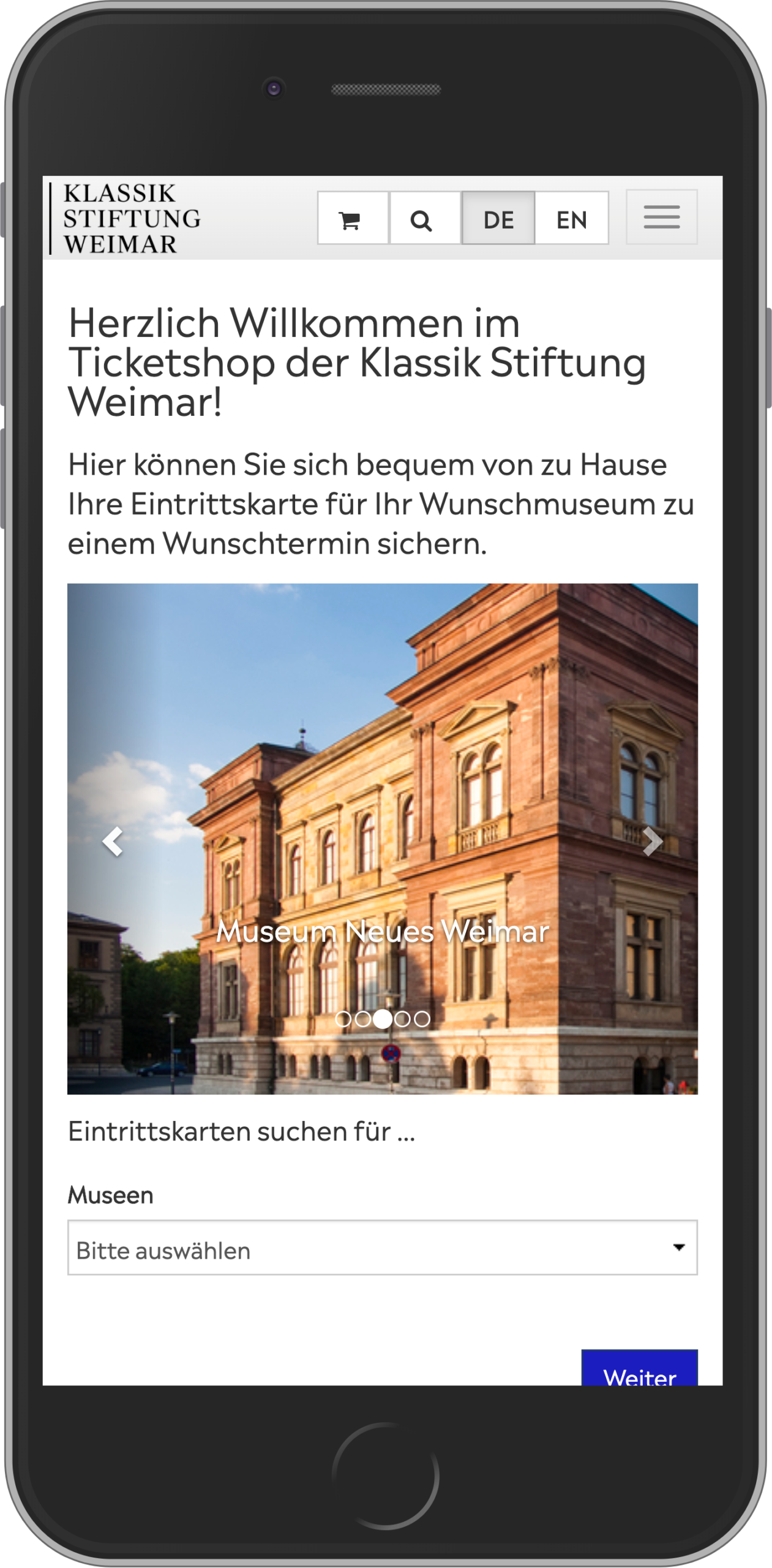 Mobile view of the home page of the online shop of the Klassik Stiftung Weimar