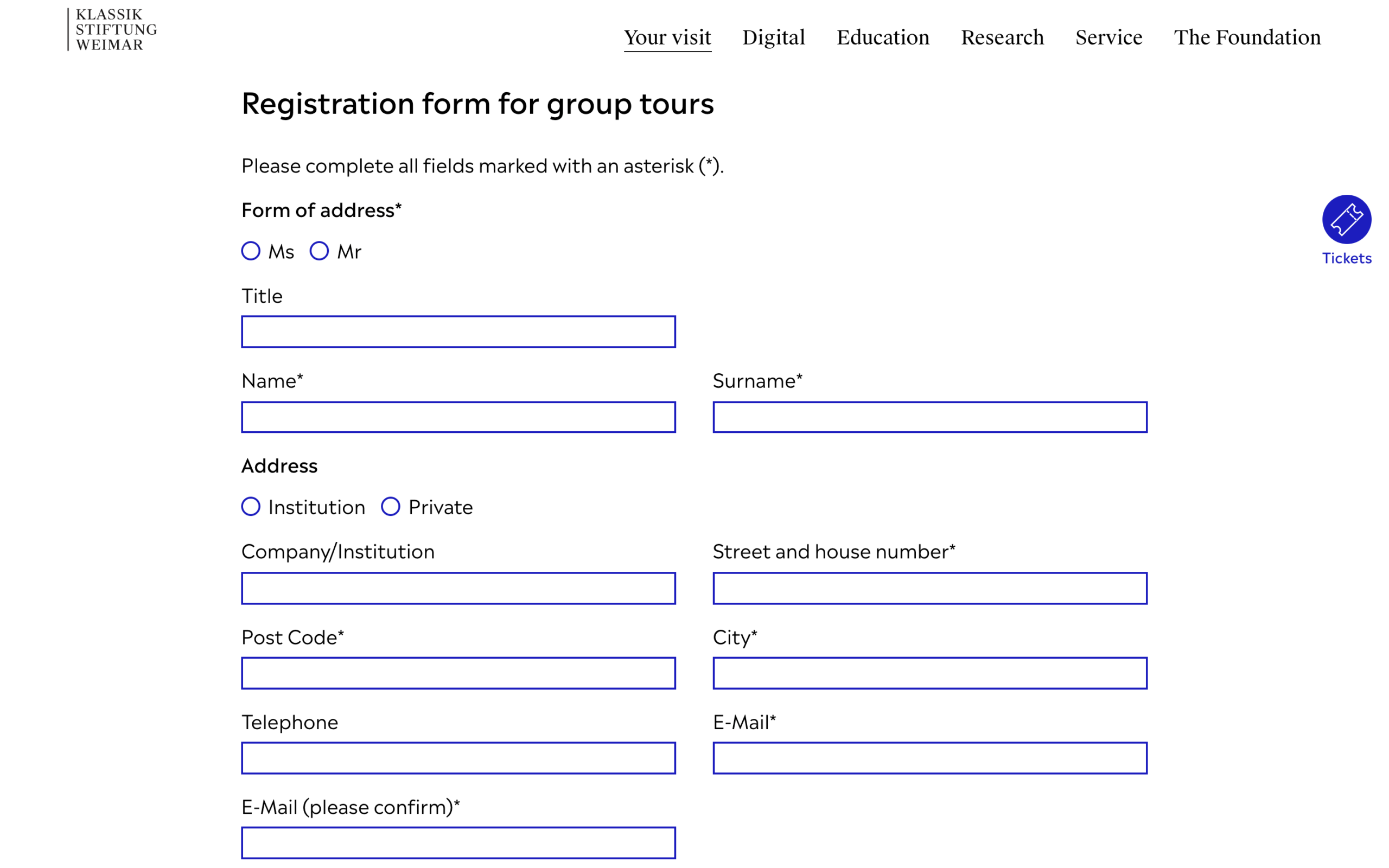 Online form for group reservations