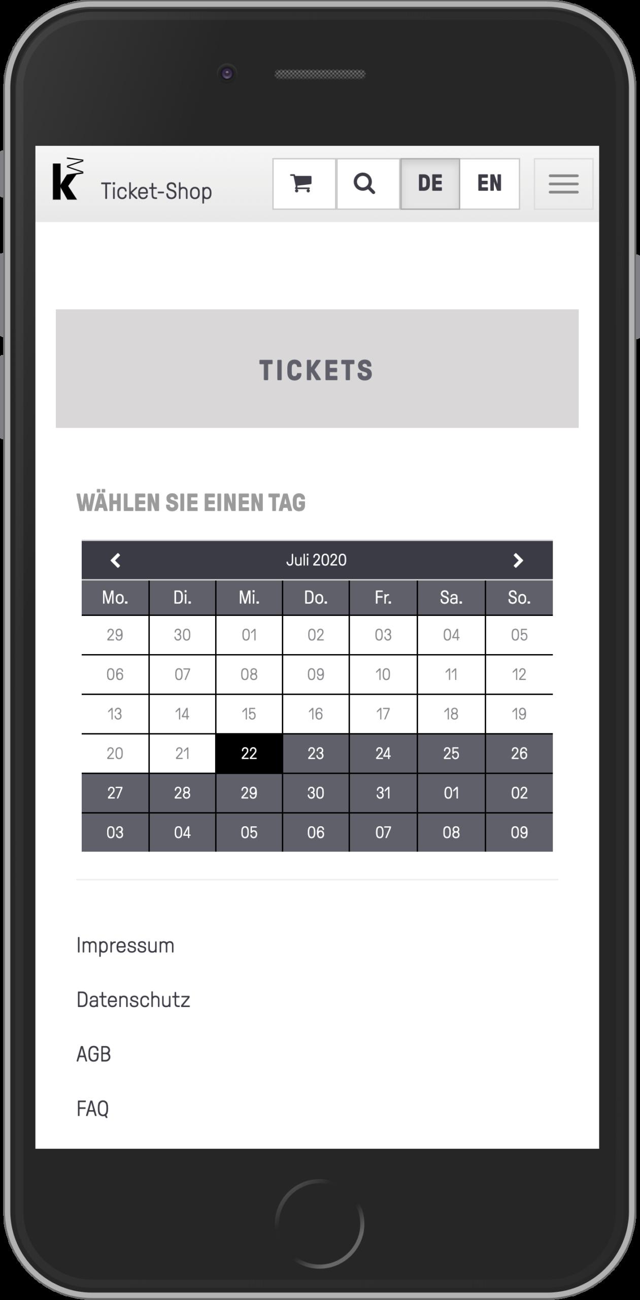 Mobile Ansicht der Datumsauswahl im Ticketkaufvorgang des Online-Shops der Kunsthalle Mannheim