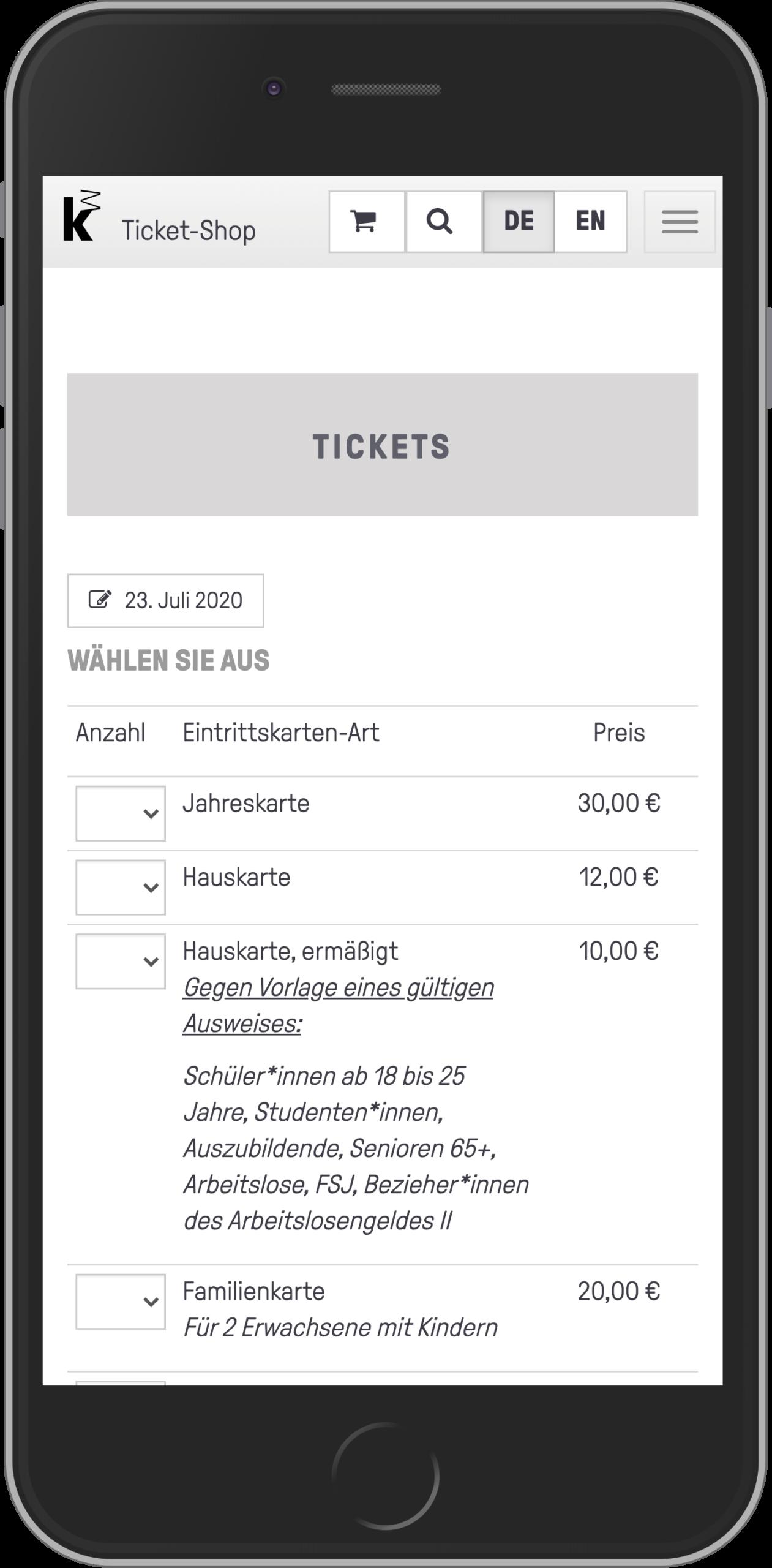 Mobile Ansicht der Ticketauswahl im Ticketkaufvorgang des Online-Shops der Kunsthalle Mannheim