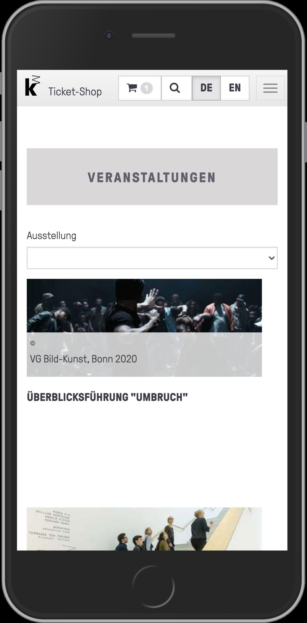 Mobile Ansicht Liste der Veranstaltungen des Online-Shops der Kunsthalle Mannheim