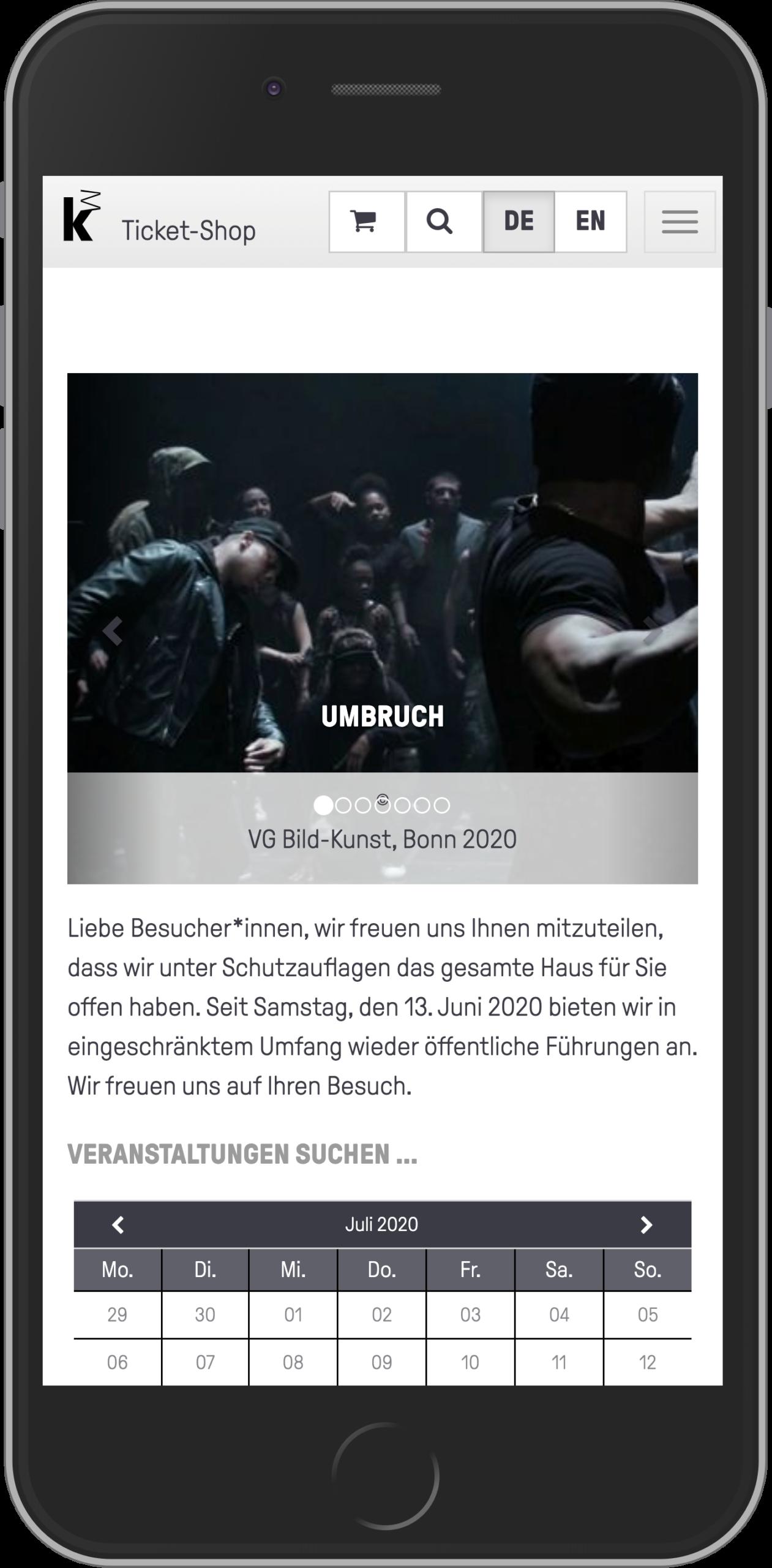Mobile Ansicht der Startseite des Online-Shops der Kunsthalle Mannheim