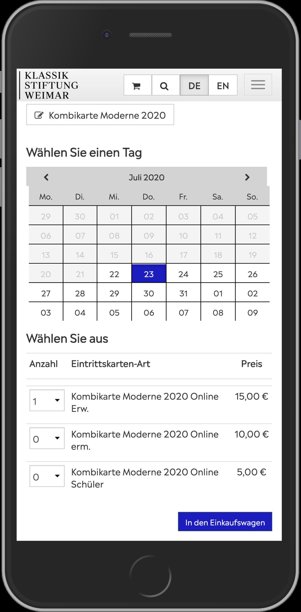 Mobile Ansicht des Ticketkaufprozesses im Online Shop der KSW