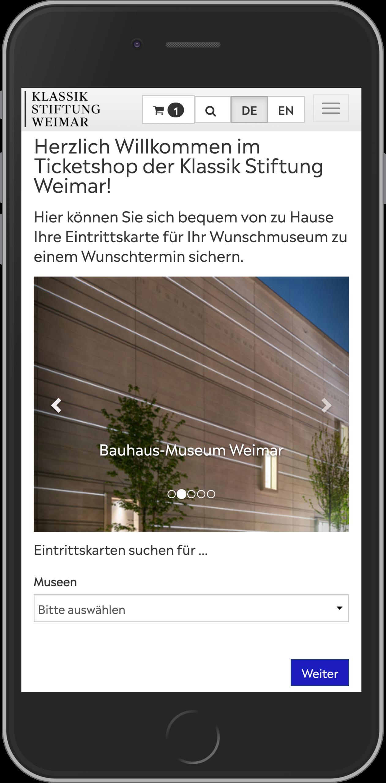 Mobile Ansicht der Startseite des Online Shop der KSW