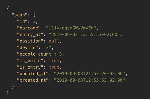 Beispielhafter JSON Output der API für ein Scan Event