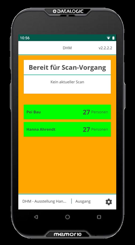 Füllstandsanzeige auf Ticketscanner im Deutschen Historischen Museum