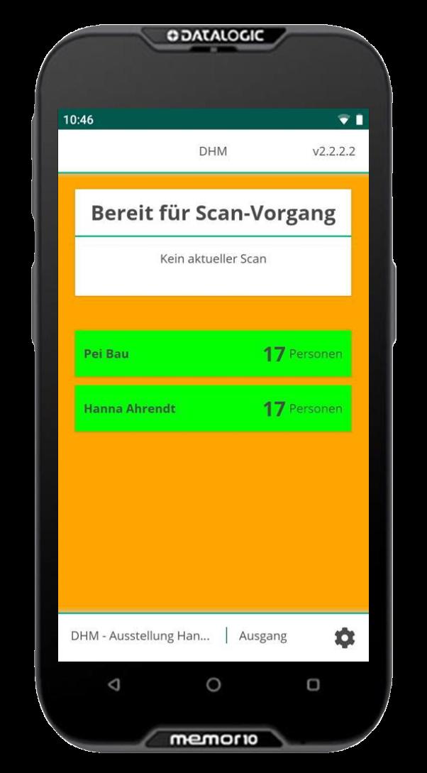 Ticketscanner mit go~scanner App im Austrittsmodus
