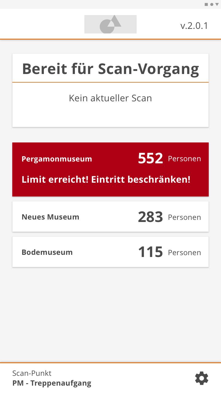 Oberfläche der Scan-App mit mehreren Füllständen und Kapazitätswarnung