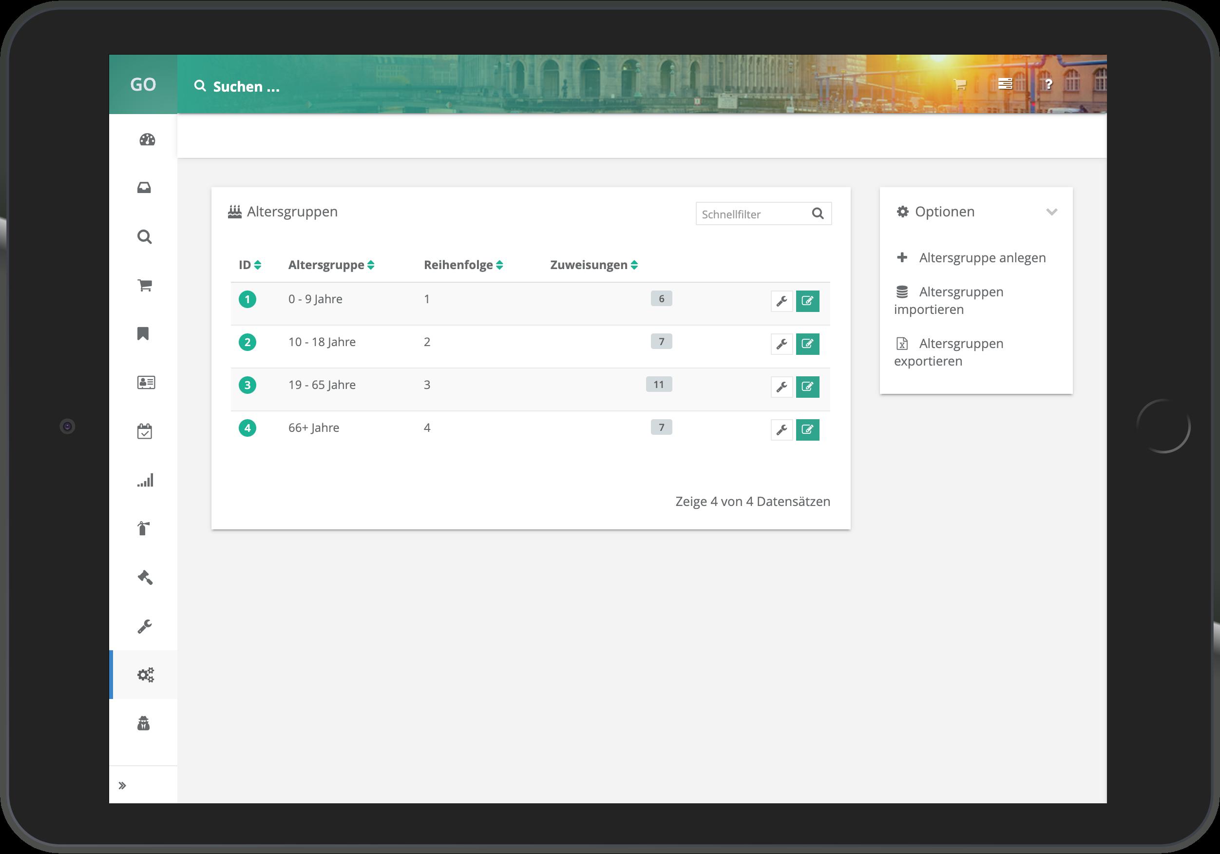 Screenshot der Verwaltung der Altersgruppen in go~mus