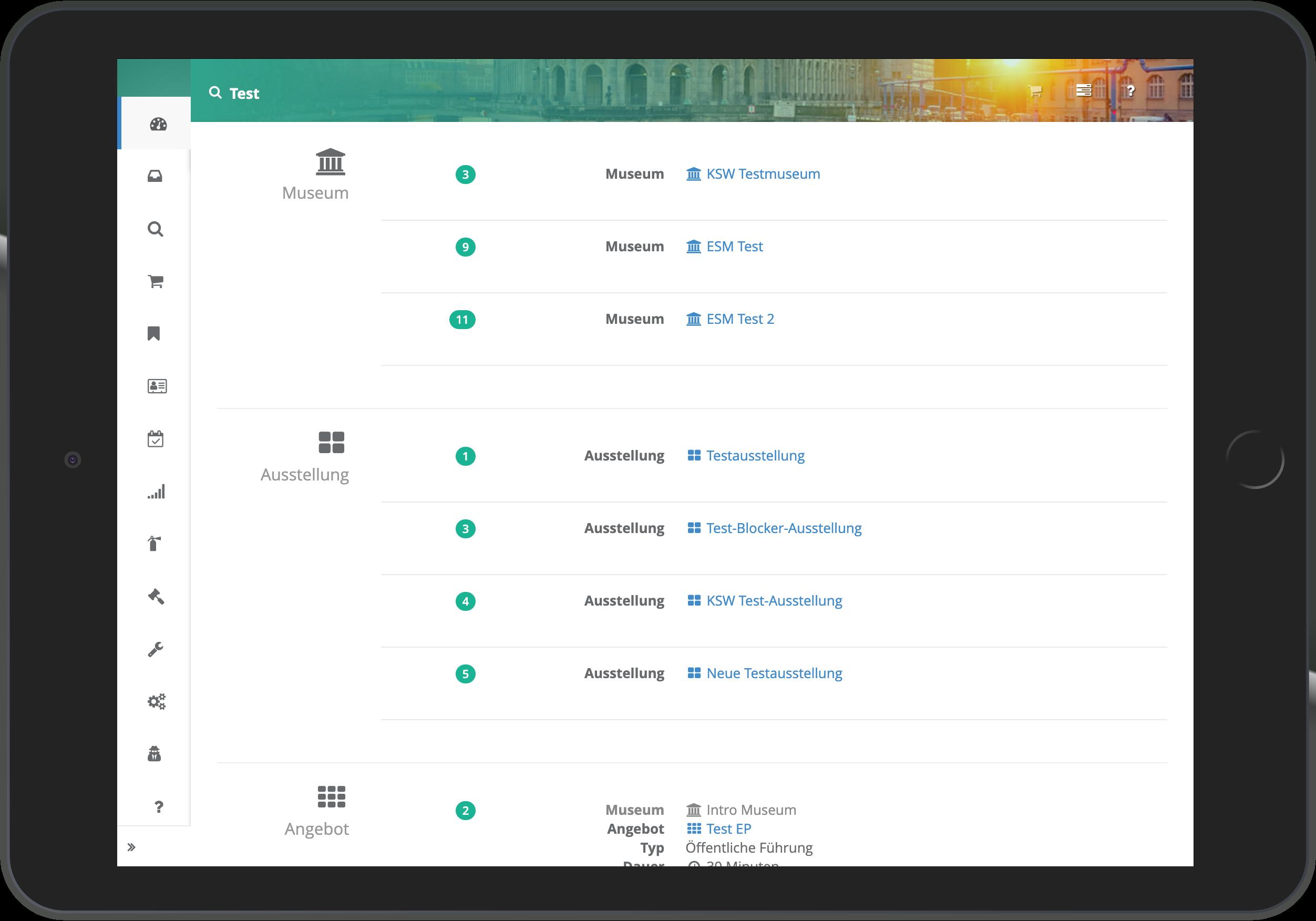 Screenshot der Anzeige der Ergebnisse bei Nutzung der globalen Suche in go~mus