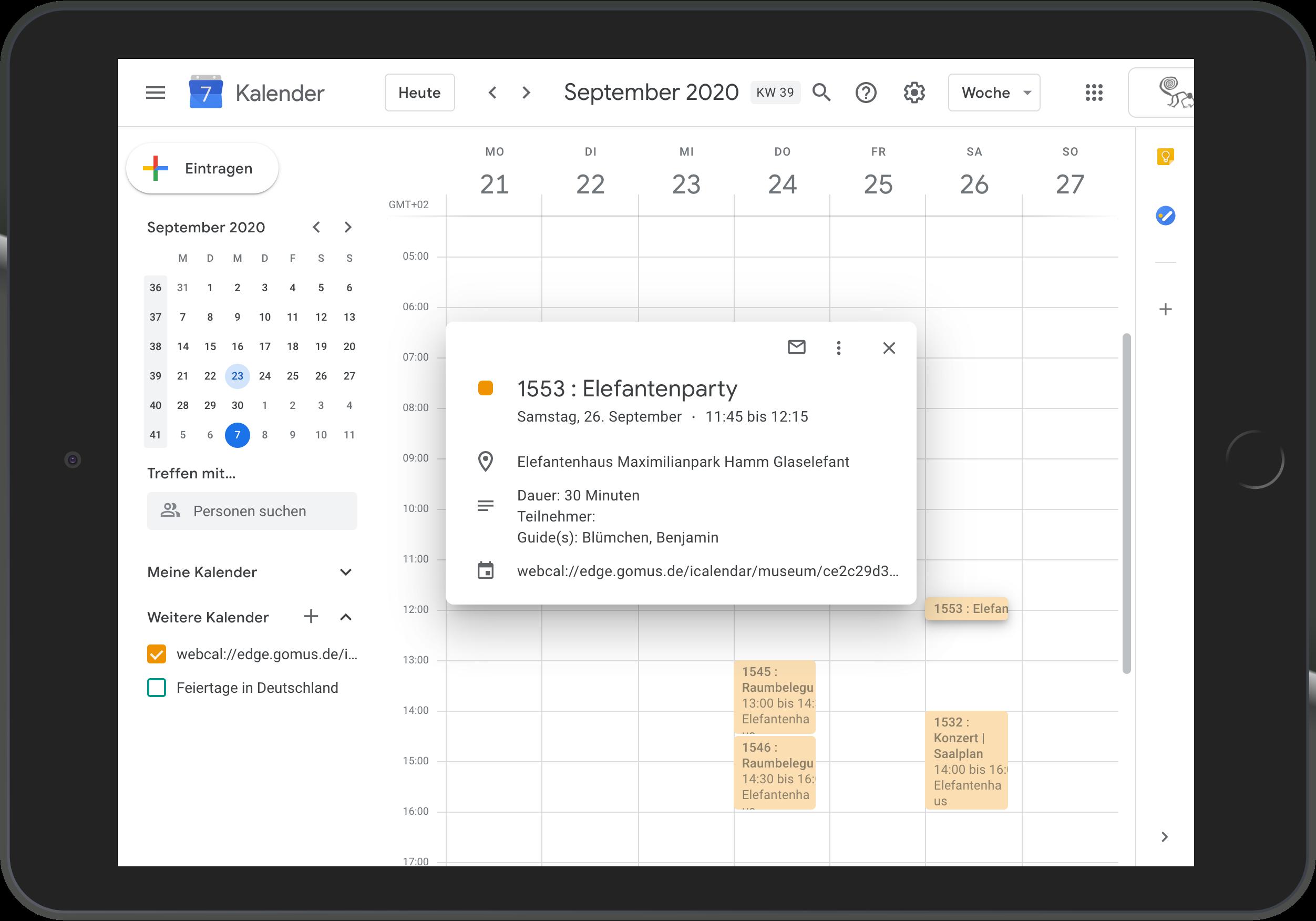 Abonnierter Termin im Google Kalender