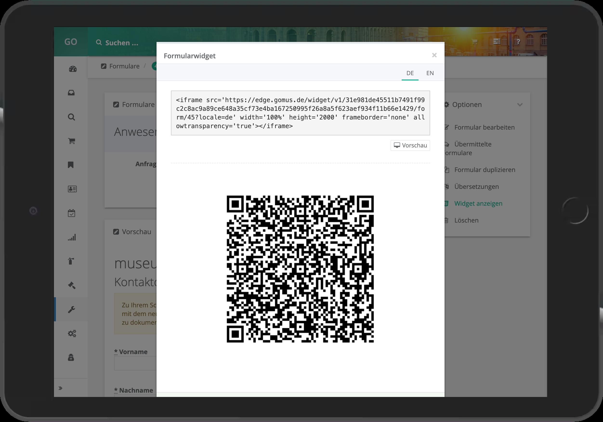 Ausspielung des Formulars als iFrame und QR-Code