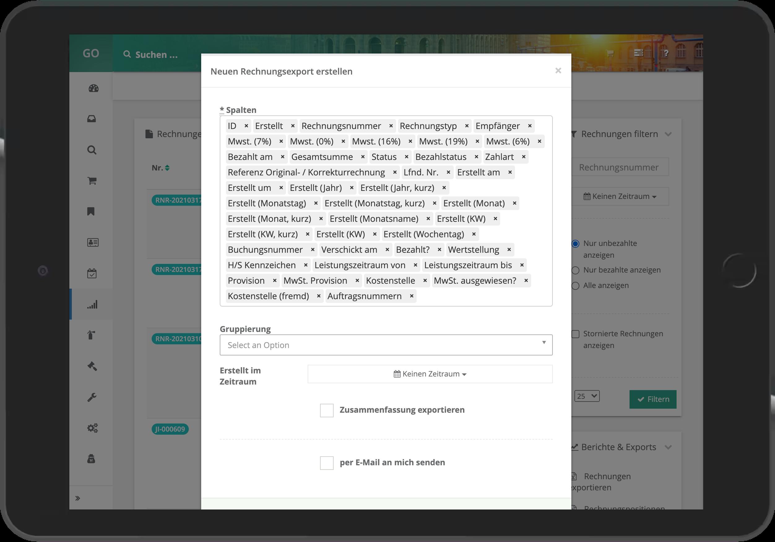 Rechnungsexport mit individueller Spaltenkonfiguration in go~mus