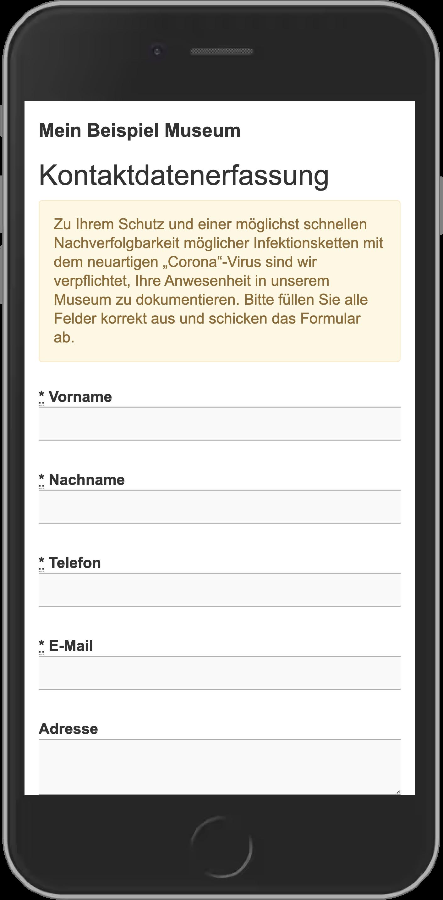 Formular zur Kontaktdatenerfassung auf einem Smartphone