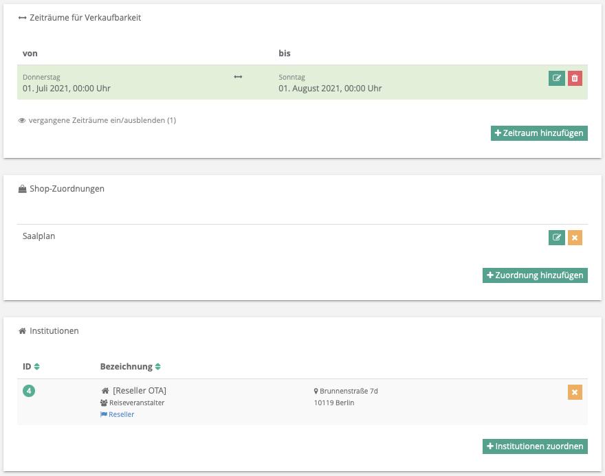 Screenshot der Möglichkeiten zur Steuerung der Verkaufbarkeit in go~mus