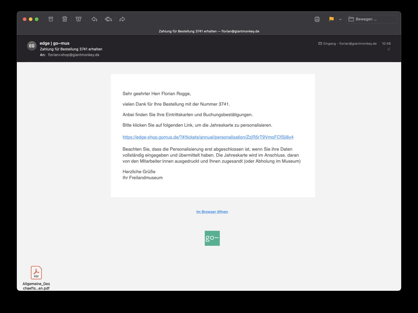Screenshot einer Bestellbestätigung per E-Mail mit Link zur Online-Personalisierung der Jahreskarte