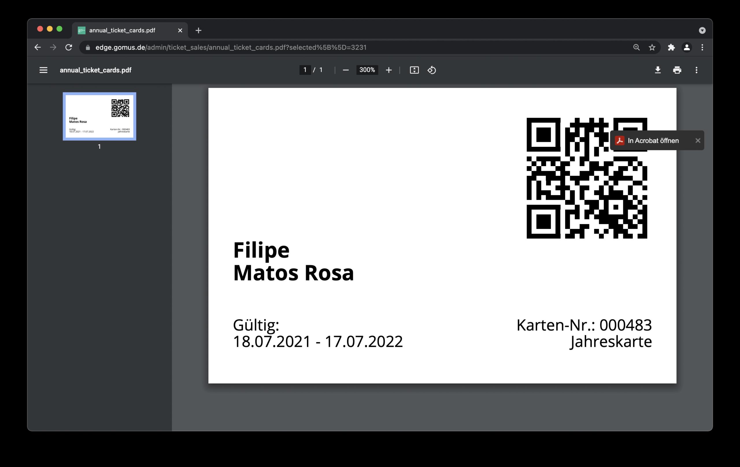 Screenshot der Druckansicht einer Jahreskarte in go~mus