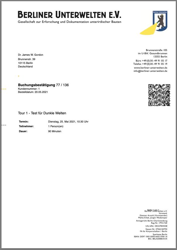 Beispielhaftes Ticket der Berliner Unterwelten