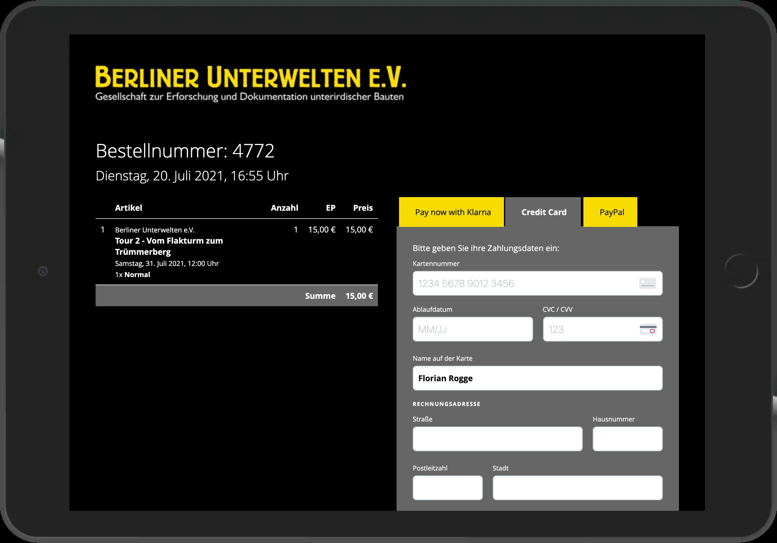 Screenshot der Bezahlung per Kreditkarte im Online-Shop der Berliner Unterwelten