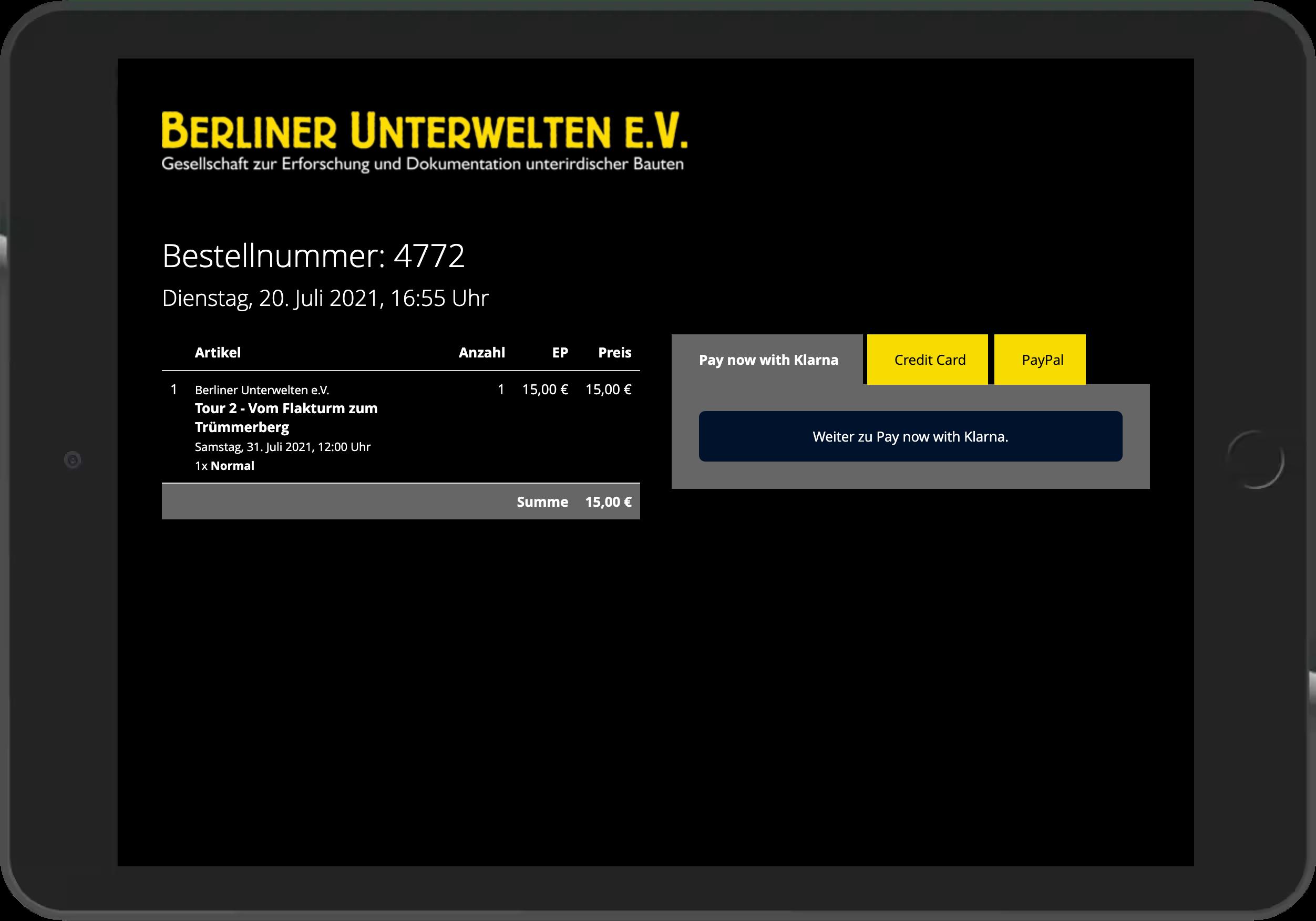 Screenshot der Bezahlung im Online-Shop der Berliner Unterwelten