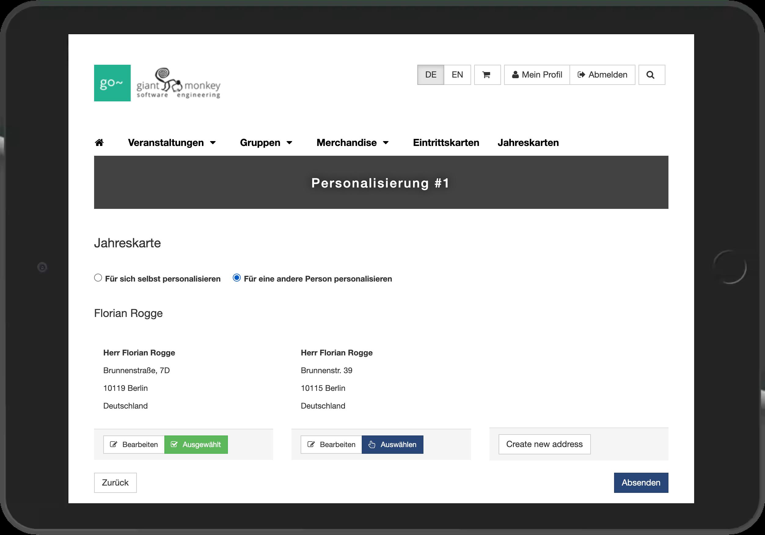 Screenshot der Personalisierung der Jahreskarte online