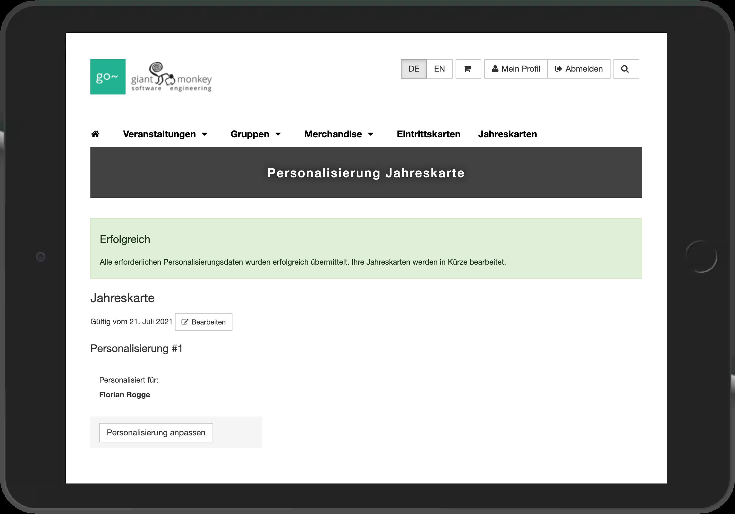 Screenshot der Bestätigung der erfolgreichen Online-Personalisierung der Jahreskarten