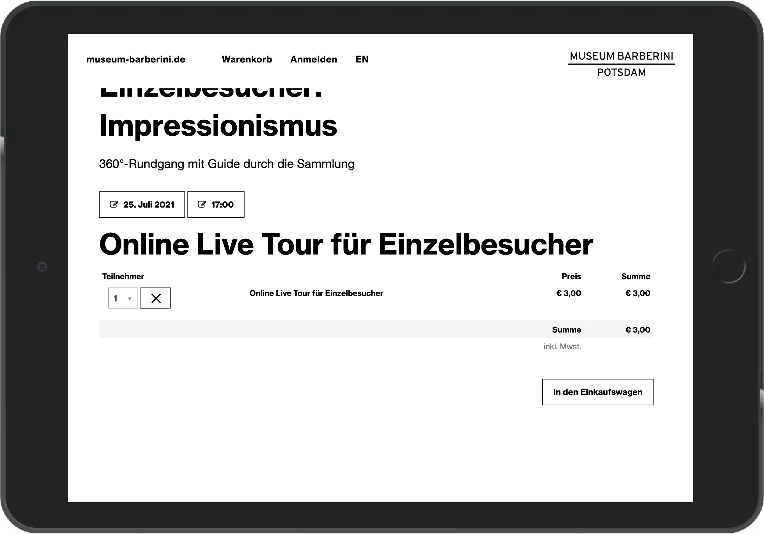 Screenshot der Tarifauswahl für eine Live Führung im Online Shop des Museum Barberini
