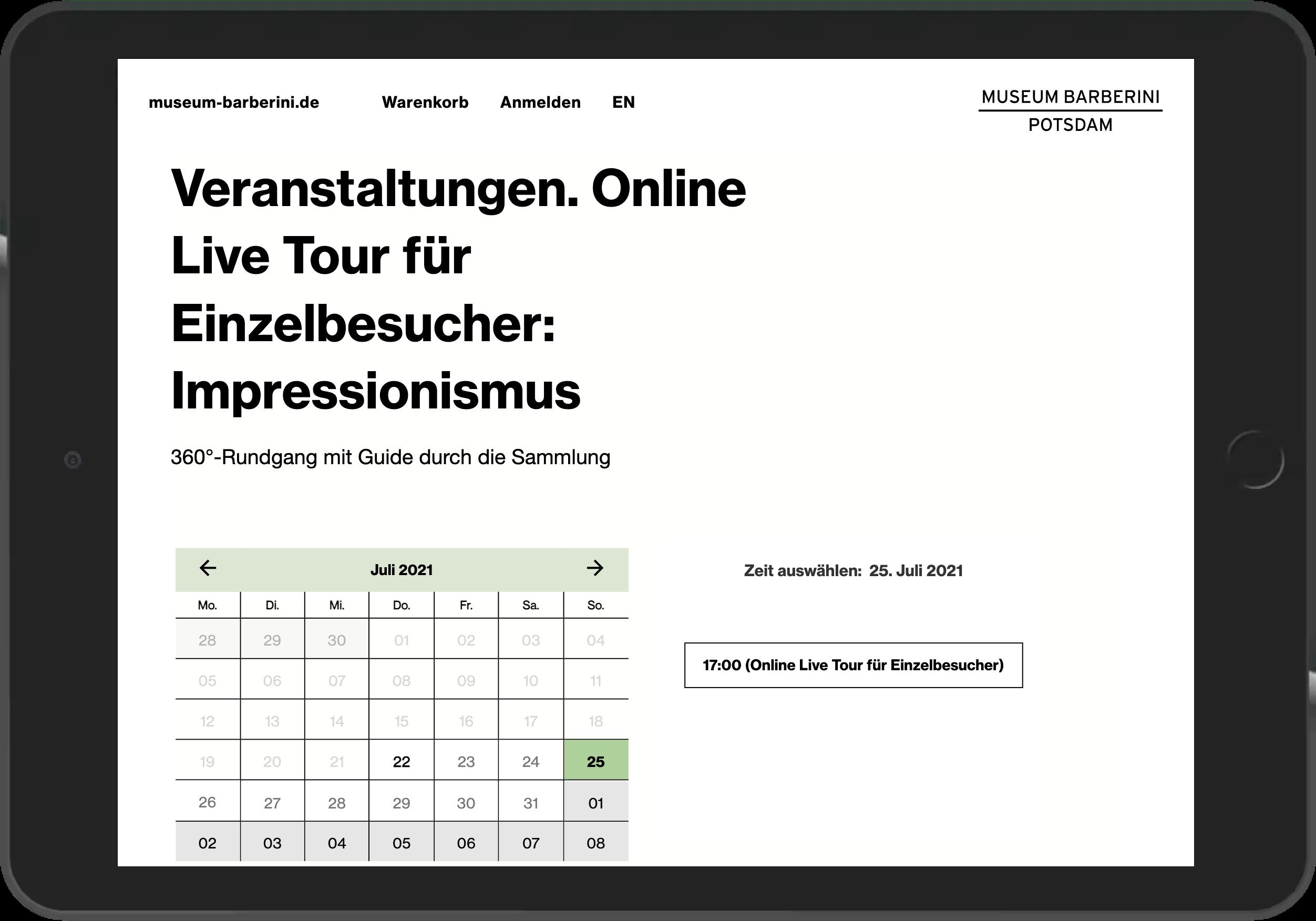 Screenshot der Terminauswahl für eine Live Führung im Online Shop des Museum Barberini