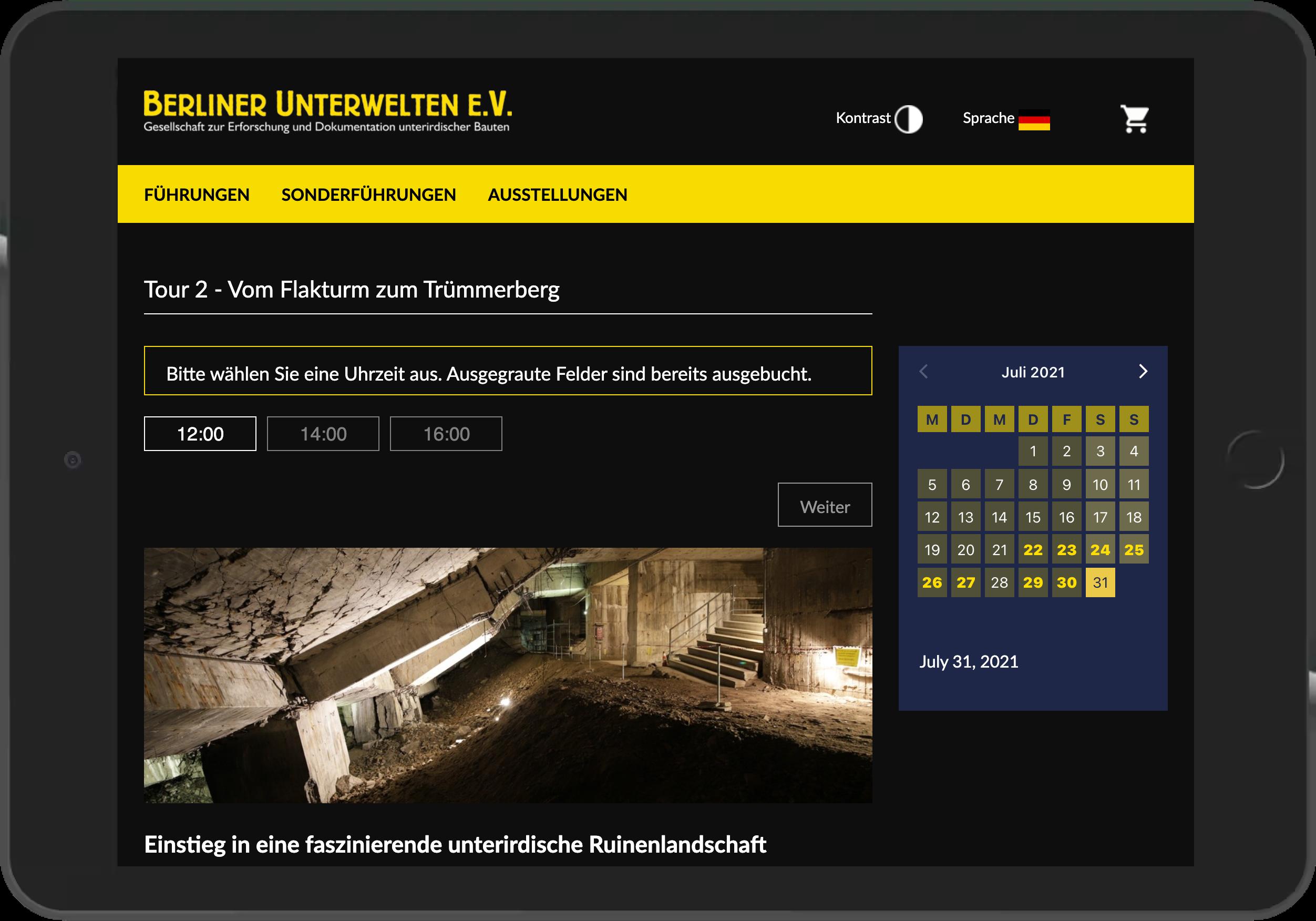Screenshot der Terminauswahl im Online-Shop der Berliner Unterwelten