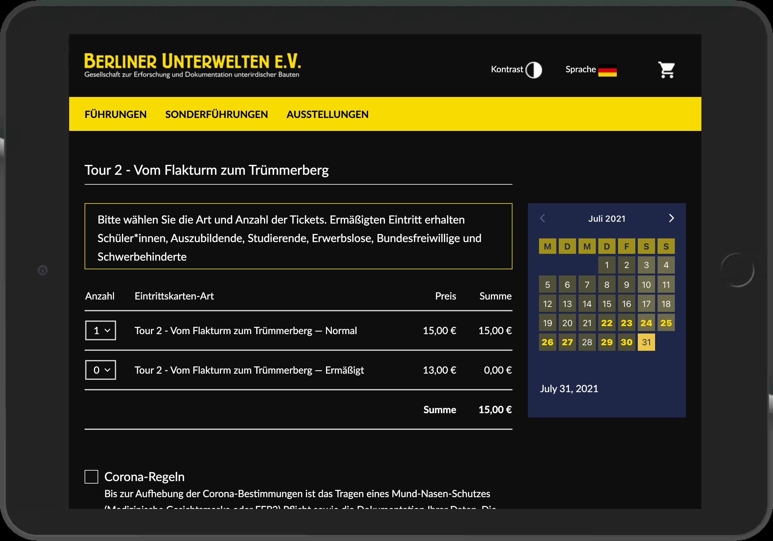 Screenshot der Tarifauswahl im Online Shop der Berliner Unterwelten