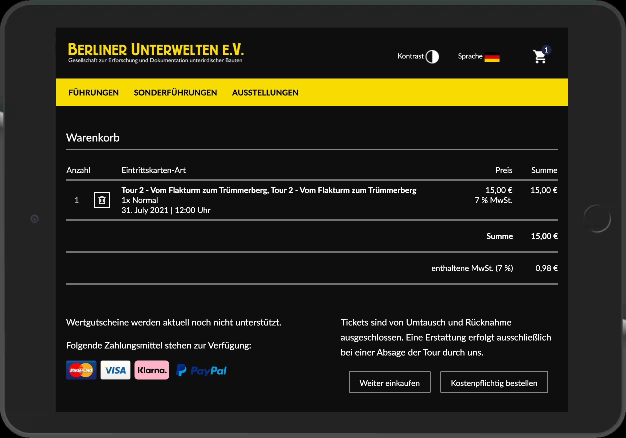 Screenshot des Warenkorbs des Online-Shops der Berliner Unterwelten
