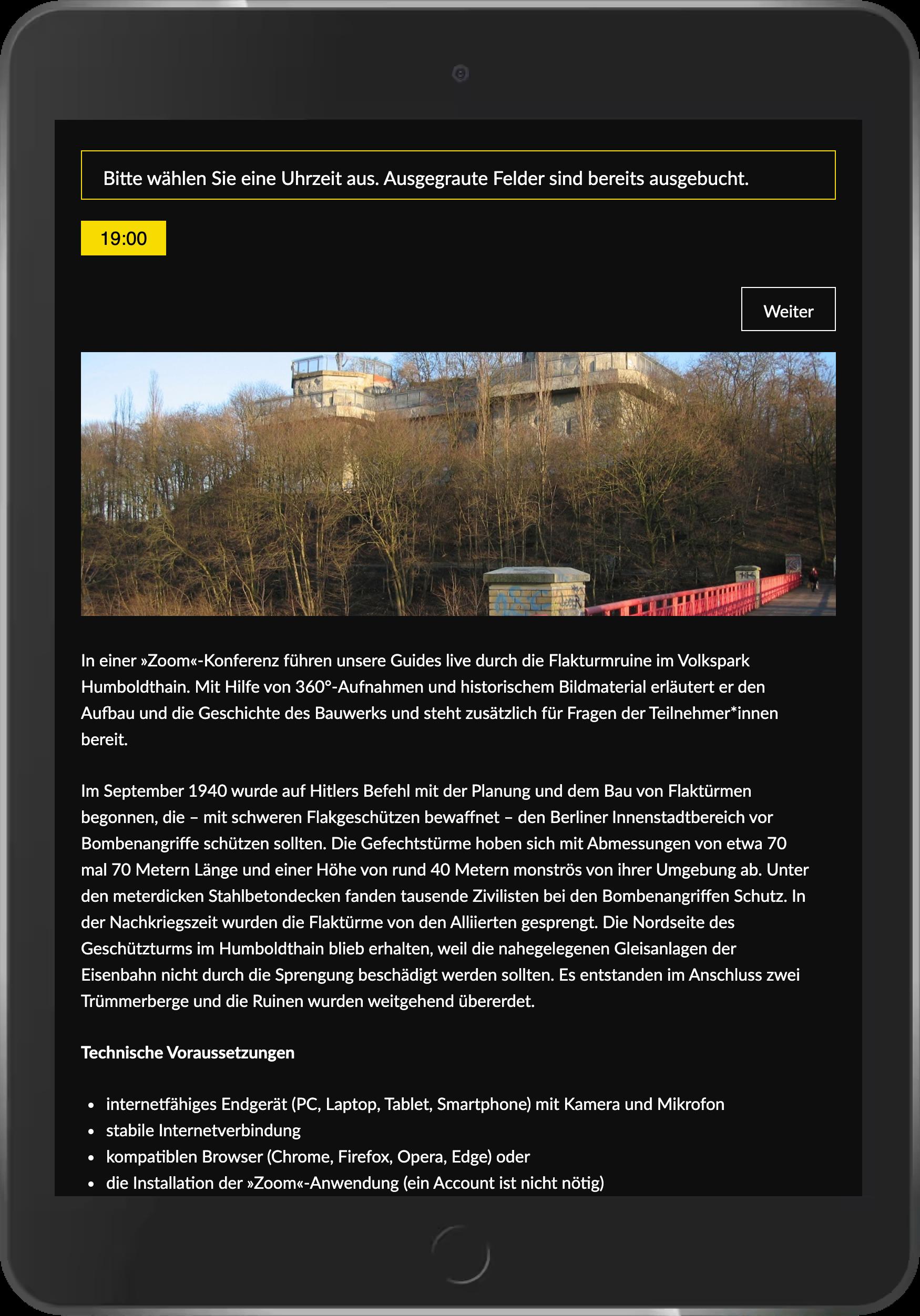Screenshot der Zusatzinfos bei Buchung von virtuellen Touren im Online-Shop der Berliner Unterwelten