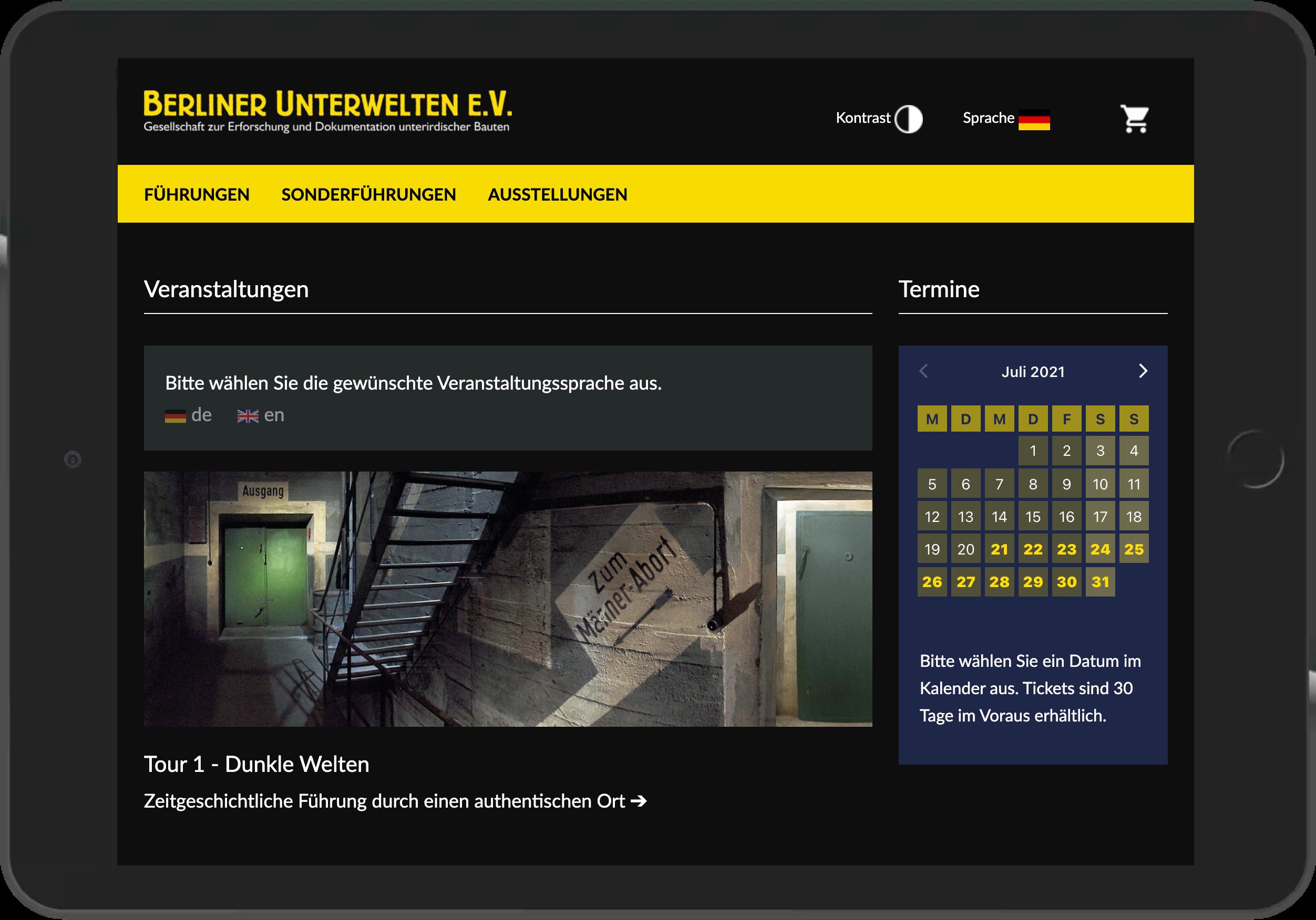 Screenshot der Startseite des Online Shops der Berliner Unterwelten