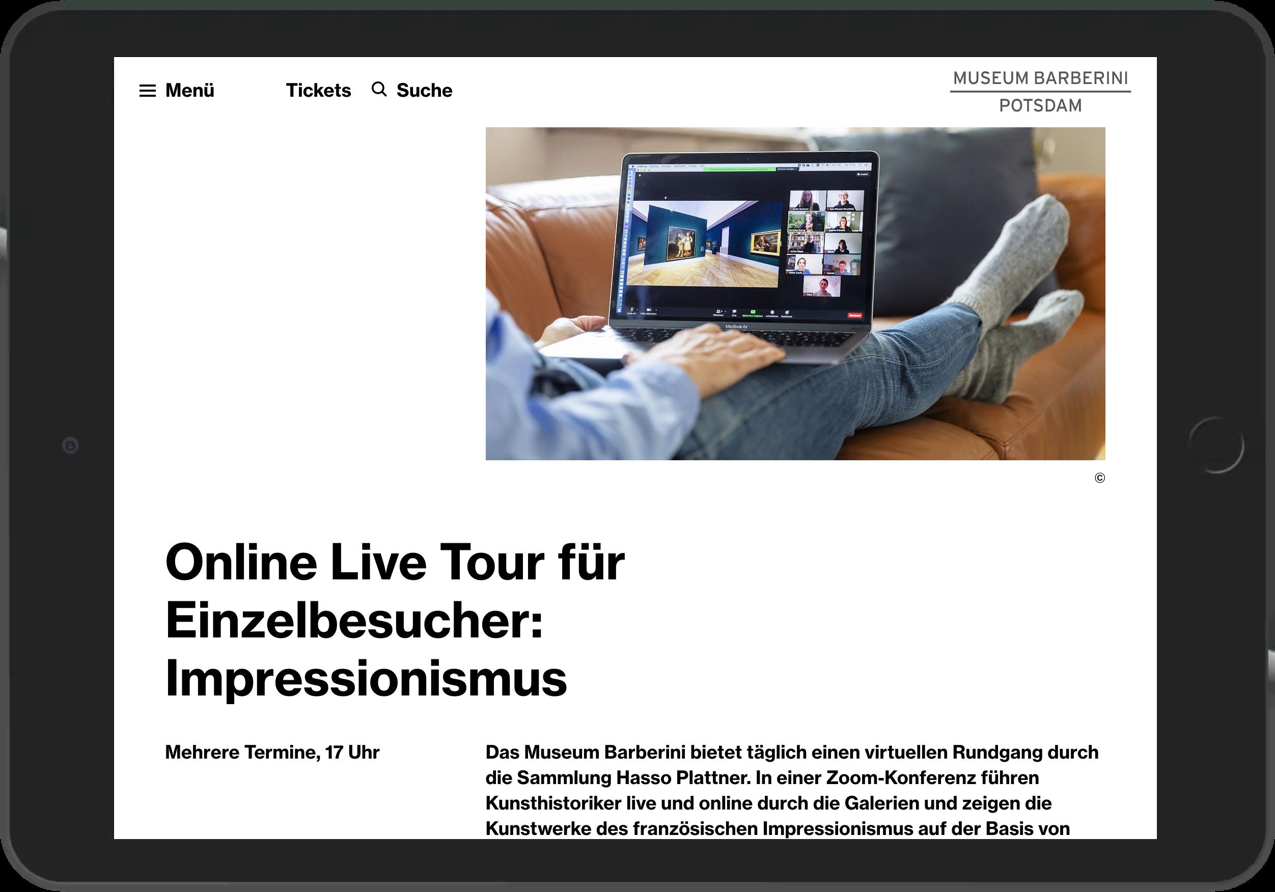 Screenshot der Darstellung der Live Tour auf der Webseite des Museum Barberini